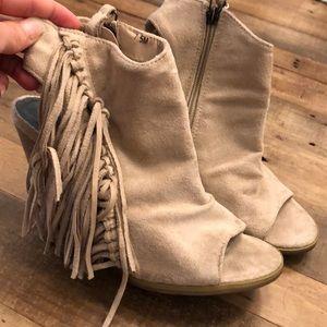 Fringe open toe heels